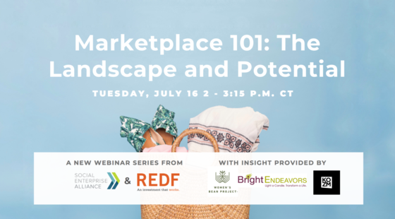 Image: Marketplace 101 Landscape and Potential graphic with bag and REDF logo.